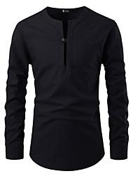 Недорогие -Муж. Заклепки Размер ЕС / США - Рубашка Хлопок, V-образный вырез / Воротник с уголками на пуговицах (button-down) Классический Однотонный Черный / Длинный рукав