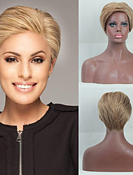 cheap -Human Hair Capless Wigs Human Hair Natural Wave / Natural Straight Pixie Cut / Layered Haircut / Asymmetrical / Short Hairstyles 2019 Fashionable Design / Adjustable / Heat Resistant Brown Short