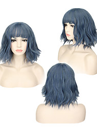 cheap -Synthetic Wig Wavy Minaj Bob With Bangs Wig Short Blue Synthetic Hair 14INCH Women's Adjustable Heat Resistant Classic Blue