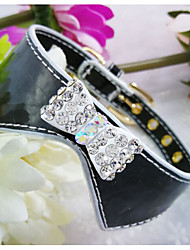cheap -Dogs Cats Collar Portable Decoration Solid Colored Rhinestone PU Leather / Polyurethane Leather Black