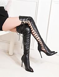 cheap -Women's PU(Polyurethane) Spring & Summer Boots Stiletto Heel Peep Toe White / Black / Wedding / Party & Evening