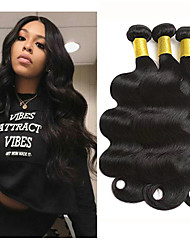 cheap -3 Bundles Indian Hair Wavy Body Wave Virgin Human Hair 100% Remy Hair Weave Bundles Headpiece Natural Color Hair Weaves / Hair Bulk Bundle Hair 8-28 inch Natural Color Human Hair Weaves Odor Free