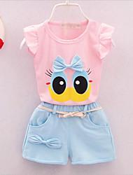 cheap -Toddler Girls' Boho Cartoon Sleeveless Clothing Set White