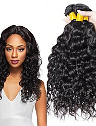 Недорогие -4 Связки Бразильские волосы Волнистые человеческие волосы Remy 200 g Человека ткет Волосы Пучок волос Накладки из натуральных волос 8-28 дюймовый Естественный цвет Ткет человеческих волос