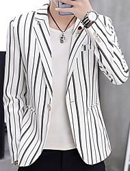 cheap -Men's Blazer, Striped Notch Lapel Polyester White / Black / Khaki / Slim