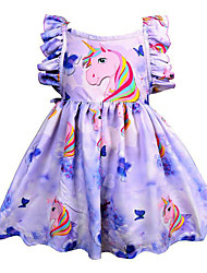 cheap -Kids Girls' Cute Going out Unicorn Rainbow Sleeveless Knee-length Dress Lavender