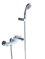 cheap -Bathtub Faucet Chrome Wall Mounted Ceramic Valve Bath Shower Mixer Taps / Brass / Single Handle Two Holes