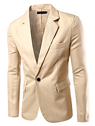 cheap -Men's Blazer Solid Colored Wine / White / Black XL / XXL / XXXL