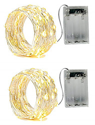 cheap -2m String Lights 20 LEDs 2pcs Warm White White Red Waterproof Party Decorative AA Batteries Powered