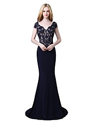 cheap -Mermaid / Trumpet Plunging Neck Court Train Jersey Beautiful Back / Vintage Inspired Formal Evening Dress with Beading / Appliques 2020