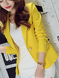 cheap -Women's Blazer, Solid Colored Notch Lapel Polyester / Spandex Green / Black / Yellow