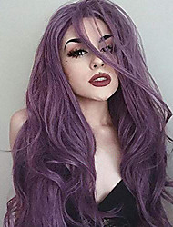 cheap -Synthetic Lace Front Wig Wavy Body Wave Side Part Lace Front Wig Short Lavender Synthetic Hair 24 inch Women's Synthetic Easy dressing New Arrival Purple