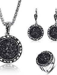cheap -Women's Drop Earrings Pendant Necklace Band Ring Classic Stylish Classic Resin Rhinestone Earrings Jewelry Black / White / Blue For Party Holiday 1 set