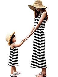 cheap -Mommy and Me Active Basic Striped Color Block Patchwork Sleeveless Regular Midi Regular Cotton Dress Black