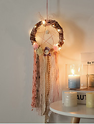 cheap -Handmade Dream Catchers LED Lights Feather Wall Decorations