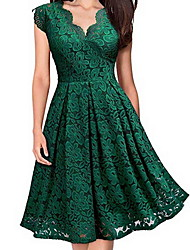 cheap -Women's Skater Dress - Short Sleeve Floral Spring & Summer V Neck Lace Party Party & Evening Slim 2020 Black Purple Red Green S M L XL