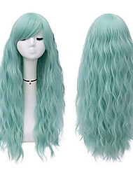 cheap -Synthetic Wig Curly Middle Part Wig Long Green Synthetic Hair 22 inch Women's Party Green