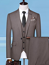 cheap -Men's Plus Size Suits Notch Lapel Polyester Black / Gray / Light Brown / Slim