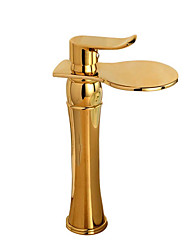 cheap -Bathroom Sink Faucet - Widespread Chrome / Nickel Brushed / Gold Deck Mounted Single Handle One HoleBath Taps