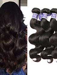 cheap -3 Bundles Peruvian Hair Body Wave Virgin Human Hair Unprocessed Human Hair Natural Color Hair Weaves / Hair Bulk Bundle Hair Human Hair Extensions 8-28 inch Natural Color Human Hair Weaves Odor Free