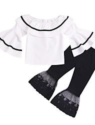 cheap -Kids Toddler Girls' Basic Street chic Striped Lace Half Sleeve Regular Regular Cotton Clothing Set White