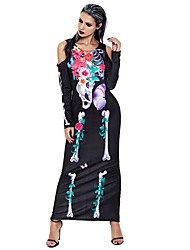 cheap -Skeleton / Skull Cosplay Costume Adults' Female Cosplay Halloween Halloween Carnival Masquerade Festival / Holiday Polyster Black Female Carnival Costumes Floral Print