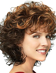 cheap -Ombre Hair Weaves / Hair Bulk Synthetic Wig Bangs Curly Deep Wave Free Part Wig Short Brown / Burgundy Synthetic Hair 12 inch Women's Fashionable Design Women Synthetic Brown