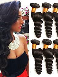 abordables -Lot de 6 Cheveux Indiens Ondulation Lâche Cheveux humains Naturels Non Traités Paquets de 100% Remy Hair Weave Casque Tissages de cheveux humains Bundle cheveux 8-28 pouce Naturel Tissages de cheveux
