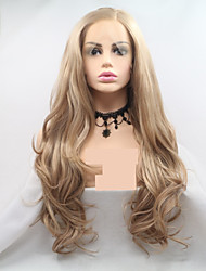 cheap -Synthetic Lace Front Wig Wavy Body Wave Layered Haircut Lace Front Wig Blonde Long Golden Blonde Synthetic Hair 24 inch Women's Women Blonde Sylvia