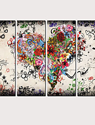 cheap -Print Rolled Canvas Prints - Landscape Love & Hearts Classic Modern Four Panels Art Prints