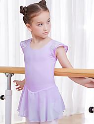 cheap -Kids' Dancewear / Ballet Dresses Girls' Training / Performance Cotton Split Joint Short Sleeve Natural Dress