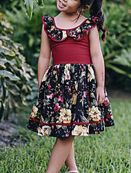 cheap -Kids Girls' Active Cute Floral Color Block Backless Layered Pleated Sleeveless Above Knee Dress Wine / Cotton / Lace up / Print