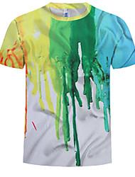 cheap -Men's Plus Size Cotton T-shirt - Rainbow Print Round Neck White