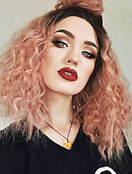 cheap -Synthetic Lace Front Wig Wavy Middle Part with Baby Hair Lace Front Wig Pink Short Black / Pink Synthetic Hair 14 inch Women's with Baby Hair Party Color Gradient Pink