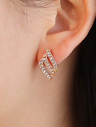 cheap -Women's White Cubic Zirconia Stud Earrings Hollow Out Leaf Statement Stylish Luxury Romantic Gold Plated Earrings Jewelry Gold / White For Party Gift Date 1 Pair