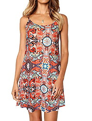cheap -Women's Basic A Line Dress - Floral Print Strap Black Red Navy Blue S M L XL