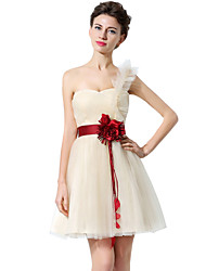 cheap -A-Line One Shoulder Short / Mini Tulle Bridesmaid Dress with Sash / Ribbon / Ruched
