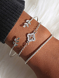 cheap -3pcs Women's Bracelet Bangles Cuff Bracelet Vintage Bracelet Layered Leaf Flower Simple Classic Ethnic Fashion Alloy Bracelet Jewelry Silver For Daily School Street Holiday Festival