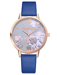 cheap -Women's Quartz Watches Flower Fashion Black Blue Red PU Leather Chinese Quartz Gray Peach Light brown lace New Design Casual Watch 1 pc Analog One Year Battery Life