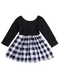 cheap -Baby Girls' Basic / Street chic Striped / Print Patchwork Long Sleeve Knee-length Cotton Dress Black / Toddler