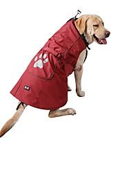 cheap -Dogs Cats Rain Coat Vest Winter Dog Clothes Red Blue Costume Husky Labrador Alaskan Malamute Nylon Solid Colored Warm Ups Casual / Sporty S M L XL XXL XXXL