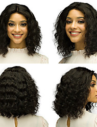 cheap -Human Hair Wig Short Deep Wave Bob Middle Part Party Women Best Quality Lace Front Brazilian Hair Women's Black#1B 8 inch 10 inch 12 inch