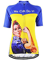cheap -21Grams Rosie the Riveter Women's Short Sleeve Cycling Jersey Violet Green Blue Retro Plus Size Bike Jersey Top Mountain Bike MTB Road Bike Cycling Breathable Quick Dry Sweat-wicking Sports Terylene