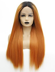 cheap -Synthetic Lace Front Wig Yaki Straight Gaga Middle Part Lace Front Wig Ombre Long Orange Synthetic Hair 22-26 inch Women's Heat Resistant Women Color Gradient Ombre / Glueless
