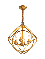 cheap -LightMyself™ 4-Light Circle / Globe / Geometrical Pendant Light Ambient Light Brass Metal 220-240V / 100-120V