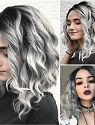 cheap -Synthetic Wig Ombre Body Wave Kardashian Bob Free Part Wig Ombre Short Grey Synthetic Hair 12INCH Women's Fashionable Design Life Classic Ombre
