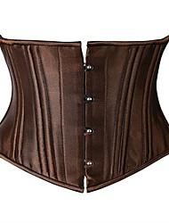 cheap -Women's Hook & Eye Underbust Corset / Corset Set - Solid Colored / Vertical Stripes, Basic Black White Brown XS S M