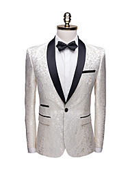 cheap -Black / Dark Navy / Champagne Patterned Tailored Fit Polyester Suit - Shawl Collar Single Breasted One-button