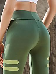 abordables -Femme Pantalon de yoga Rayure Spandex Course / Running Fitness Collants Bas Tenues de Sport Doux Butt Lift Contrôle du Ventre Power Flex Haute élasticité Slim
