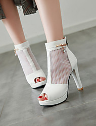 cheap -Women's Sandals Summer Boots High Heel Peep Toe Booties Ankle Boots High Heel Sandals Sexy Classic Preppy Daily Office & Career PU Solid Colored Summer White Black